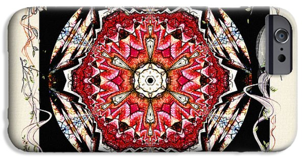 Red Wine Prints iPhone Cases - Of Wine And Roses Vintage Mandala Design iPhone Case by Georgiana Romanovna