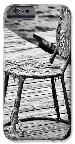 Lawn Chair iPhone Cases - Off-Season Grunge iPhone Case by Christi Kraft