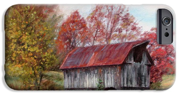 Agriculture iPhone Cases - Off the Beaten Track-old barn with red roof iPhone Case by Bonnie Mason