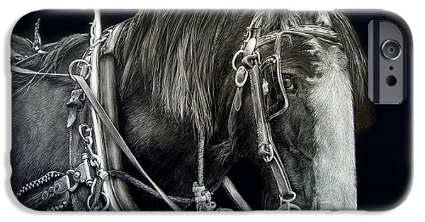 Horse And Cart Paintings iPhone Cases - Off to Work iPhone Case by Lesley Barrett