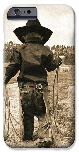 Off to Work Sepia iPhone Case by Don Schimmel