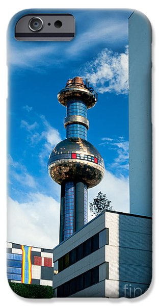 Office building and waste-to-energy plant Vienna iPhone Case by Stephan Pietzko