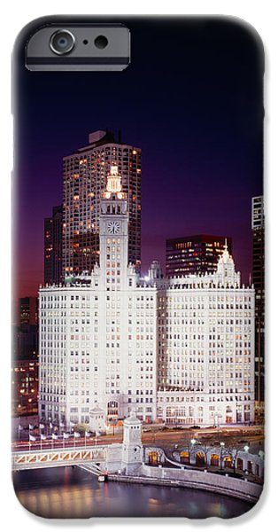 Wrigley iPhone Cases - Office Building Lit Up At Night iPhone Case by Panoramic Images