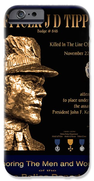 Recently Sold -  - Police Officer iPhone Cases - Officer J D Tippit Memorial Poster iPhone Case by Robert J Sadler