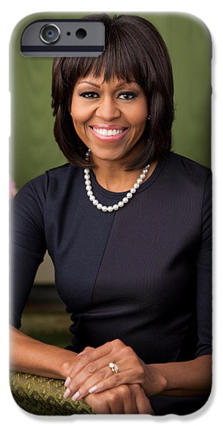Michelle iPhone Cases - Official portrait of First Lady Michelle Obama iPhone Case by Chuck Kennedy