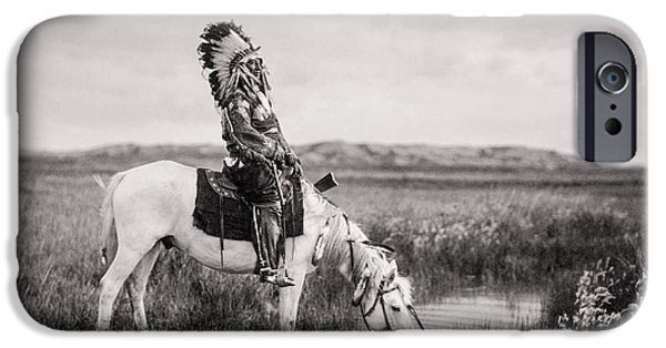 Sheriff iPhone Cases - Oglala Indian Man circa 1905 iPhone Case by Aged Pixel