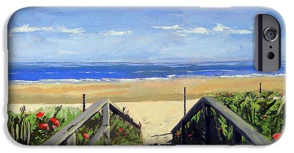 Nubble Lighthouse iPhone Cases - Ogunquit Beach Walkway Ogunquit Maine iPhone Case by Christine Hopkins