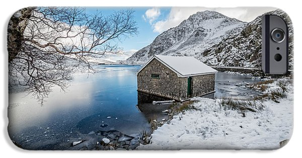 Winter Digital Art iPhone Cases - Ogwen Boat House iPhone Case by Adrian Evans