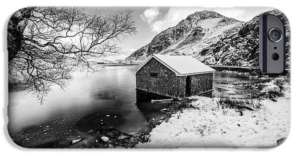 Winter Digital Art iPhone Cases - Ogwen Boat House v2 iPhone Case by Adrian Evans