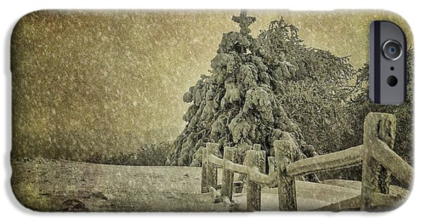 Trees In Snow iPhone Cases - Oh Christmas Tree In Snow iPhone Case by Lois Bryan