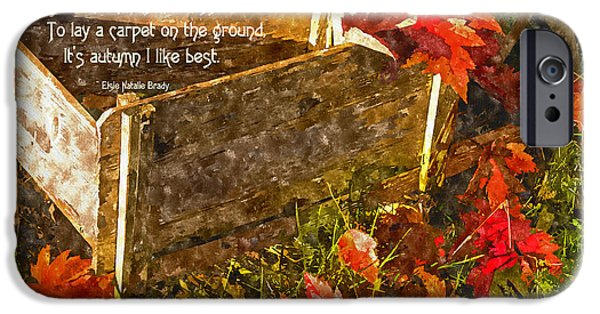 Abstract Digital Photographs iPhone Cases - Oh How I Love Autumn with Poetry iPhone Case by Mick Anderson