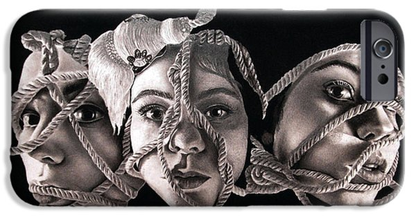Eerie Drawings iPhone Cases - Oh Id Love To But Im All Tied Up At The Moment iPhone Case by Ash Myers