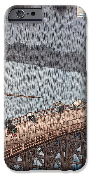 Rain iPhone Cases - Ohashi Sudden Shower at Atake iPhone Case by Ando Hiroshige