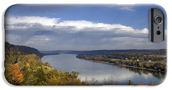 Indiana Autumn iPhone Cases - Ohio River - D003157 iPhone Case by Daniel Dempster