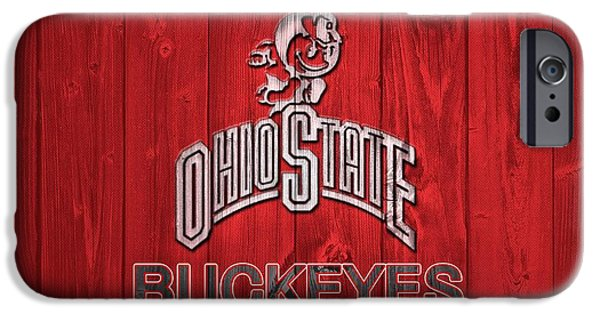 Man Cave Mixed Media iPhone Cases - Ohio State Buckeyes Barn Door iPhone Case by Dan Sproul