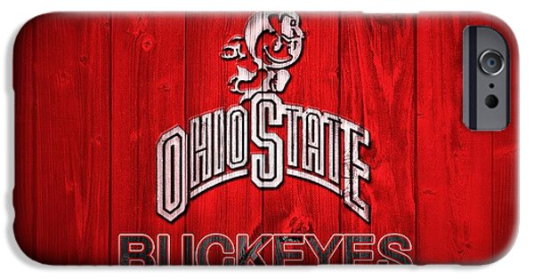 Man Cave Mixed Media iPhone Cases - Ohio State Buckeyes Barn Door Vignette iPhone Case by Dan Sproul