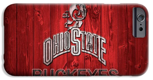 Man Cave Mixed Media iPhone Cases - Ohio State Buckeyes National Champs Barn Door iPhone Case by Dan Sproul