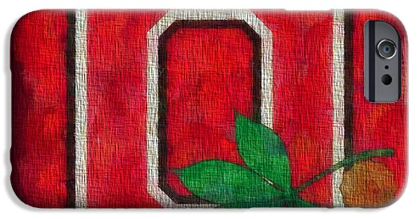 Sports Paintings iPhone Cases - Ohio State Buckeyes On Canvas iPhone Case by Dan Sproul