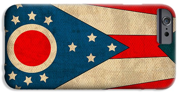 Cleveland iPhone Cases - Ohio State Flag Art on Worn Canvas iPhone Case by Design Turnpike