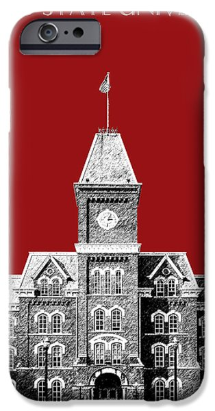 Pen And Ink Digital Art iPhone Cases - Ohio State University - Dark Red iPhone Case by DB Artist