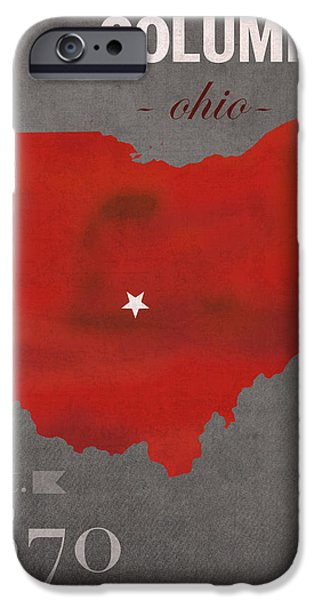 Town iPhone Cases - Ohio State University Buckeyes Columbus Ohio College Town State Map Poster Series No 005 iPhone Case by Design Turnpike