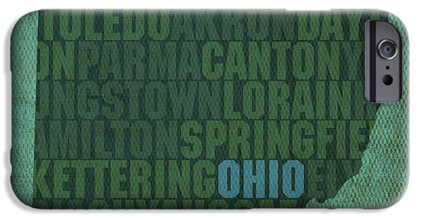 Words On Art iPhone Cases - Ohio State Word Art on Canvas iPhone Case by Design Turnpike
