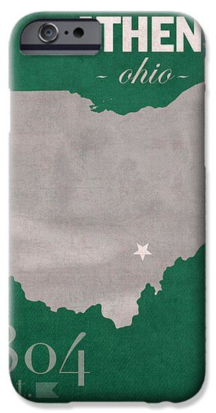 Athens iPhone Cases - Ohio University Athens Bobcats College Town State Map Poster Series No 082 iPhone Case by Design Turnpike