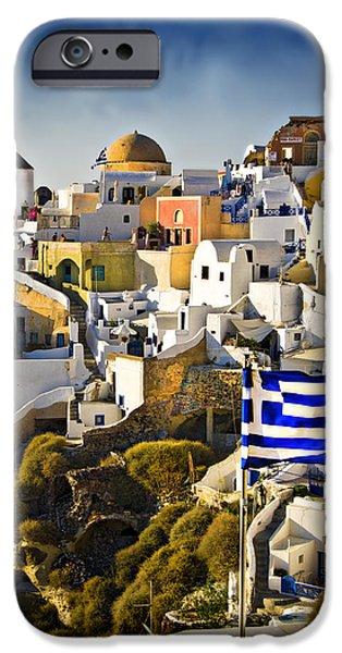 Oia and a greek flag iPhone Case by Meirion Matthias