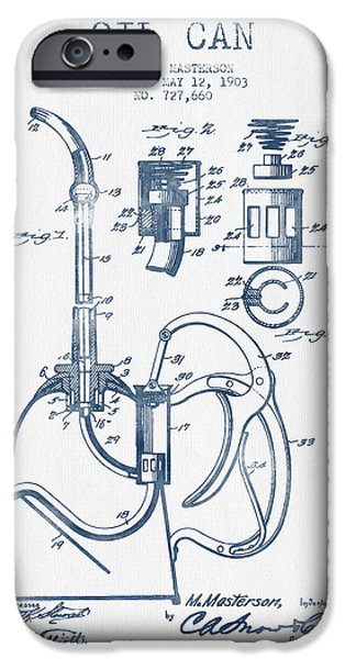 Industry iPhone Cases - Oil Can Patent From 1903 - Blue Ink iPhone Case by Aged Pixel