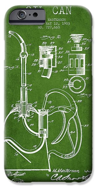 Industry iPhone Cases - Oil Can Patent From 1903 - Green iPhone Case by Aged Pixel