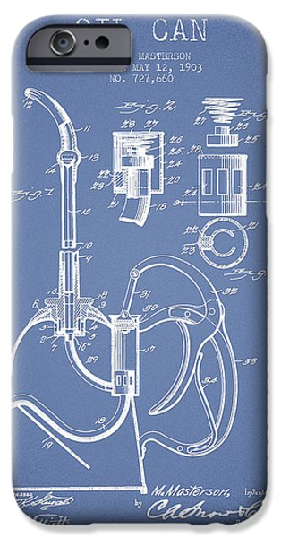 Industry iPhone Cases - Oil Can Patent From 1903 - Light Blue iPhone Case by Aged Pixel
