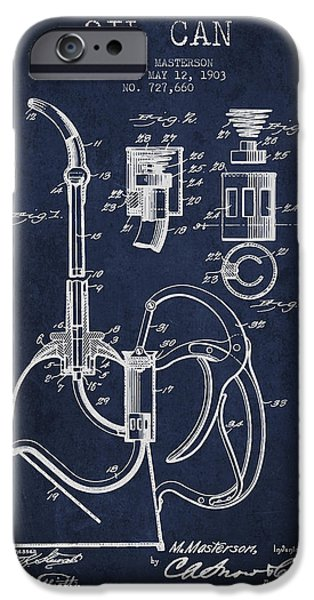 Industry iPhone Cases - Oil Can Patent From 1903 - Navy Blue iPhone Case by Aged Pixel