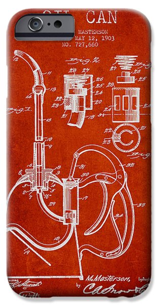 Industry iPhone Cases - Oil Can Patent From 1903 - Red iPhone Case by Aged Pixel