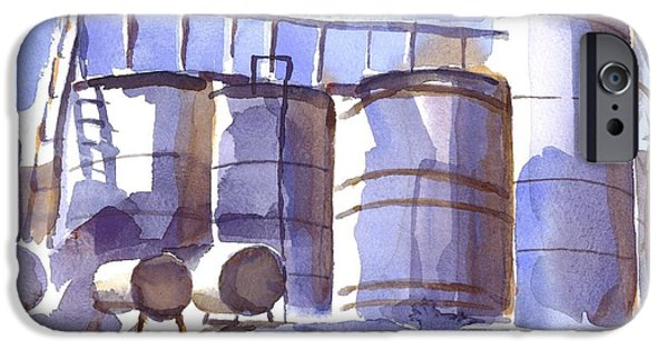 Machinery Paintings iPhone Cases - Oil Depot in April iPhone Case by Kip DeVore