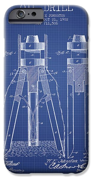 Industry iPhone Cases - Oil Drill Patent From 1902 - Blueprint iPhone Case by Aged Pixel