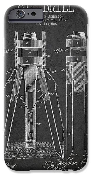 Industry iPhone Cases - Oil Drill Patent From 1902 - Dark iPhone Case by Aged Pixel