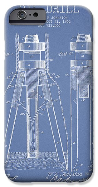 Industry iPhone Cases - Oil Drill Patent From 1902 - Light Blue iPhone Case by Aged Pixel