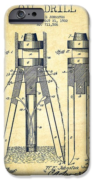 Industry iPhone Cases - Oil Drill Patent From 1902 - Vintage iPhone Case by Aged Pixel