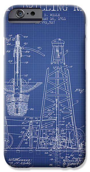 Industry Digital Art iPhone Cases - Oil Drilling Rig Patent from 1911 - Blueprint iPhone Case by Aged Pixel