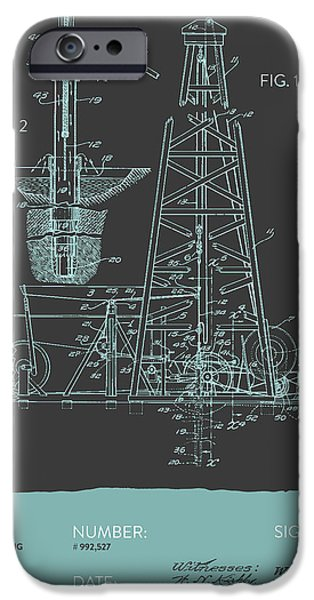 Industry iPhone Cases - Oil drilling rig Patent from 1911 - Gray Blue iPhone Case by Aged Pixel