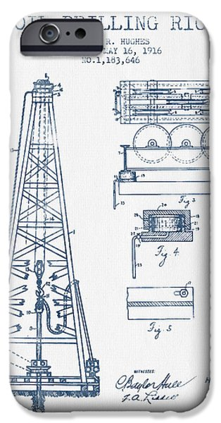 Industry iPhone Cases - Oil drilling rig Patent from 1916 -  Blue Ink iPhone Case by Aged Pixel