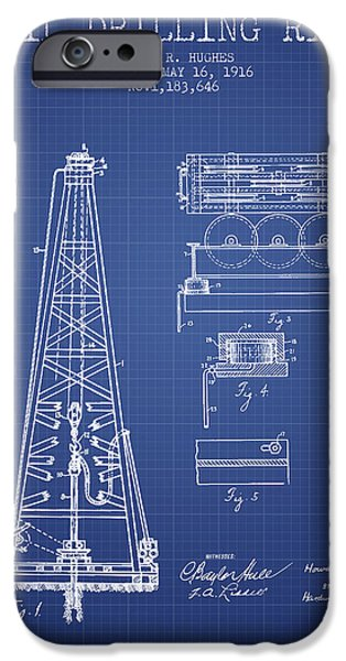 Industry iPhone Cases - Oil Drilling Rig Patent from 1916 - Blueprint iPhone Case by Aged Pixel