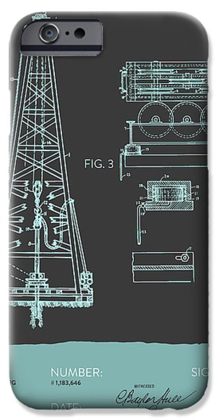 Industry iPhone Cases - Oil drilling rig Patent from 1916 - Modern Gray Blue iPhone Case by Aged Pixel