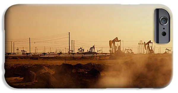 Power iPhone Cases - Oil Drills In A Field, Maricopa, Kern iPhone Case by Panoramic Images