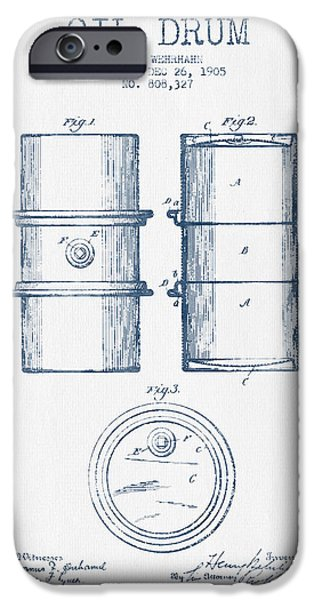 Industry iPhone Cases - Oil Drum Patent Drawing From 1905 -  Blue Ink iPhone Case by Aged Pixel