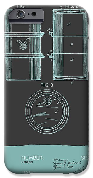 Industry iPhone Cases - Oil Drum Patent From 1905- Gray Blue iPhone Case by Aged Pixel