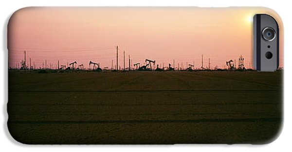 Industry iPhone Cases - Oil Field At Sunset, California State iPhone Case by Panoramic Images