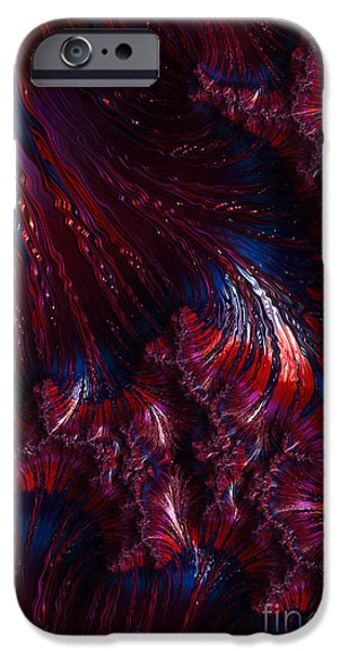 Oil Slick iPhone Cases - Oil On Water - A Fractal Abstract iPhone Case by Ann Garrett