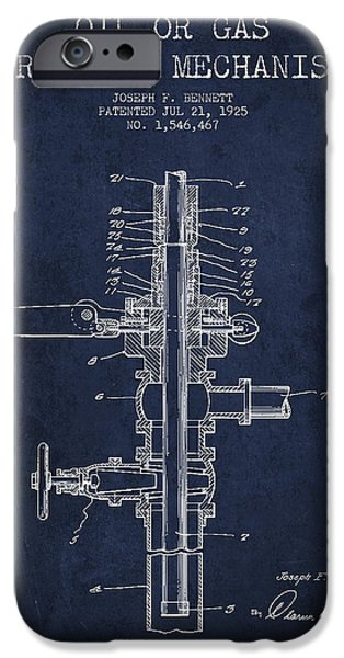 Industry iPhone Cases - Oil or Gas Drilling Mechanism Patent From 1925 - Blue iPhone Case by Aged Pixel