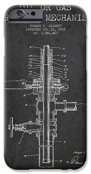 Industry iPhone Cases - Oil or Gas Drilling Mechanism Patent From 1925 - Dark iPhone Case by Aged Pixel